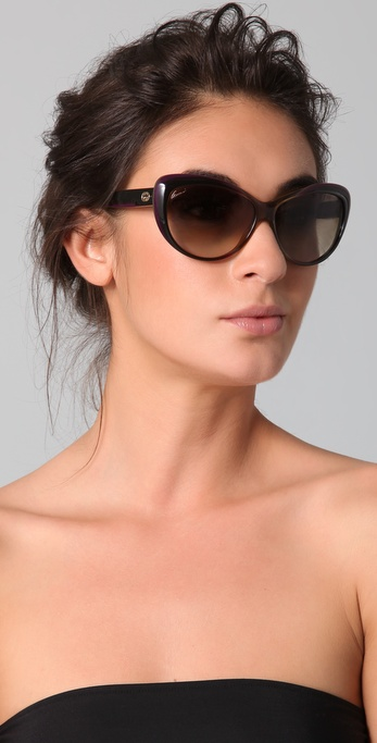 2c06bd5b8bef Gucci Rounded Cat Eye Sunglasses in Brown - Lyst