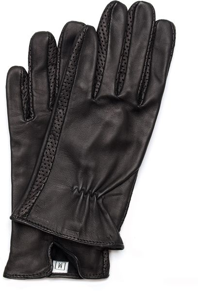 Mango Leather Gloves in Black (02)