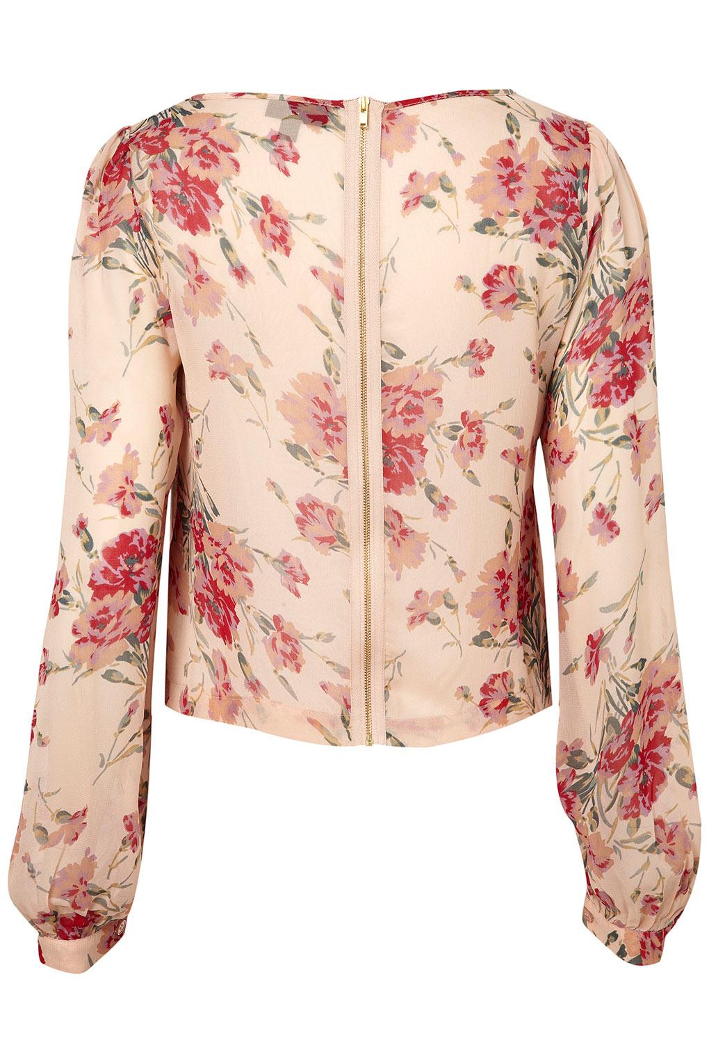 Topshop Long Sleeve Rose Print Blouse 110