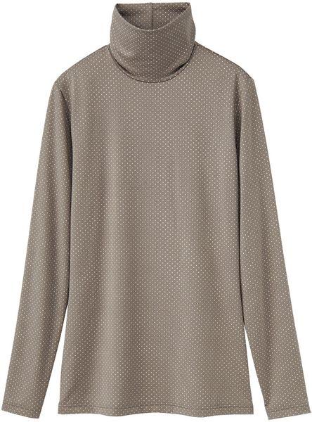 Uniqlo Women Heattech Polo Neck T Shirt In Gray Beige Lyst