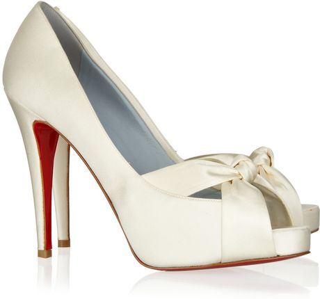 christian louboutin mouskito 120 bow front satin pumps in. Black Bedroom Furniture Sets. Home Design Ideas