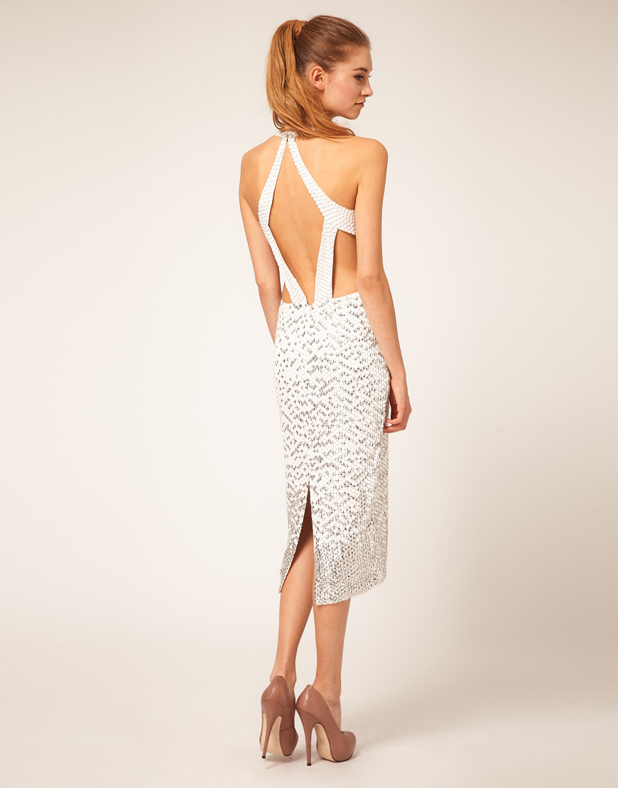 asos collection cream asos embellished midi dress with open back product 1 2463978 304127968