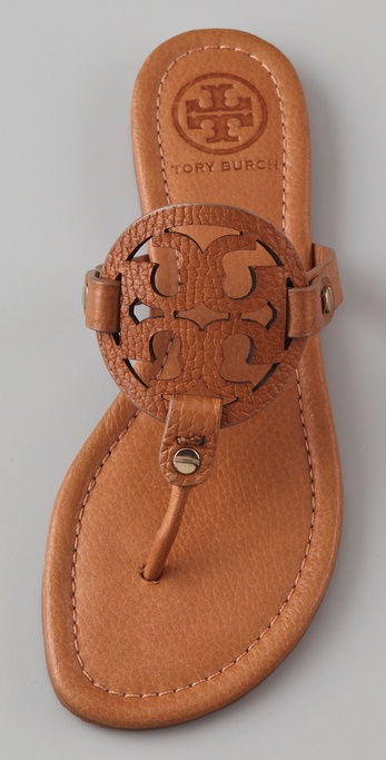 Tory Burch Miller Flat Thong Sandals In Tan Brown Lyst