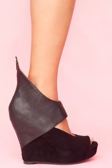 Nasty Gal Saturn Cutout Wedge - Black - Lyst