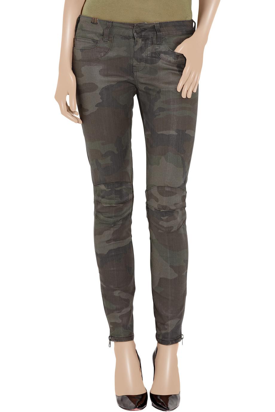 Notify Bamboo 75 Biker Low-rise Skinny Jeans in Green
