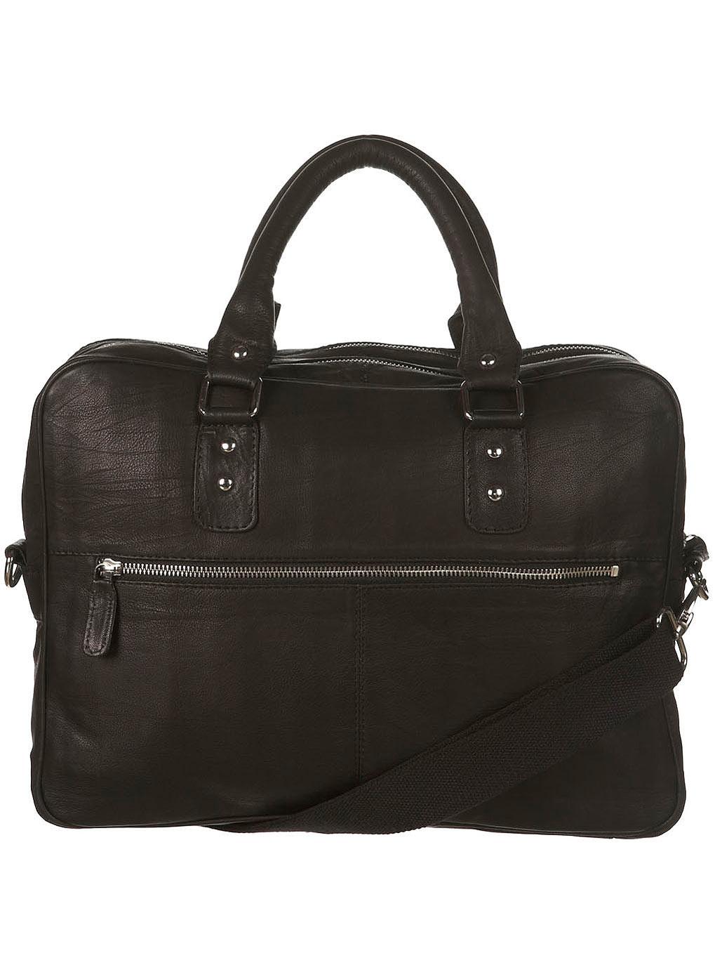 Topman Black Leather Laptop Bag In Black For Men Lyst