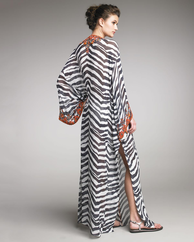 9597965be Emilio Pucci Coral-beaded Zebra-print Caftan in Black - Lyst