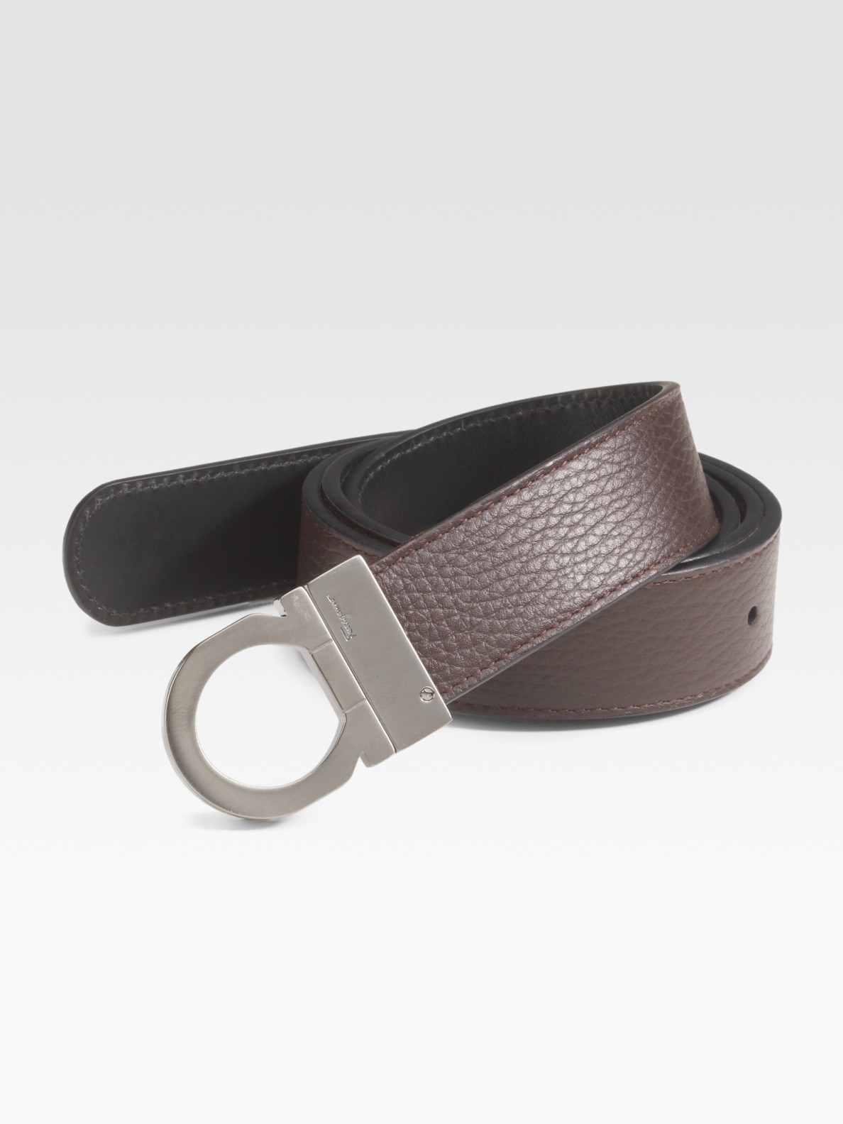 ferragamo reversible leather belt in brown for lyst