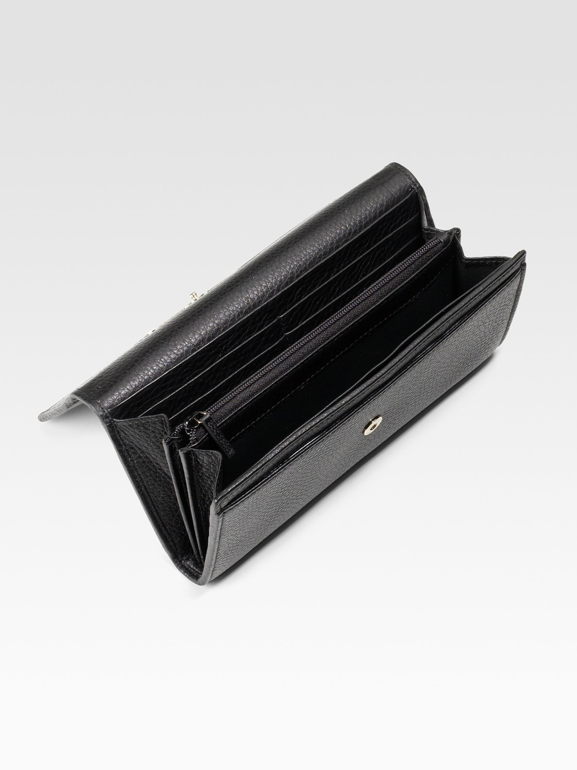 91c088a7693c3a Gucci Bamboo Continental Leather Wallet in Black - Lyst
