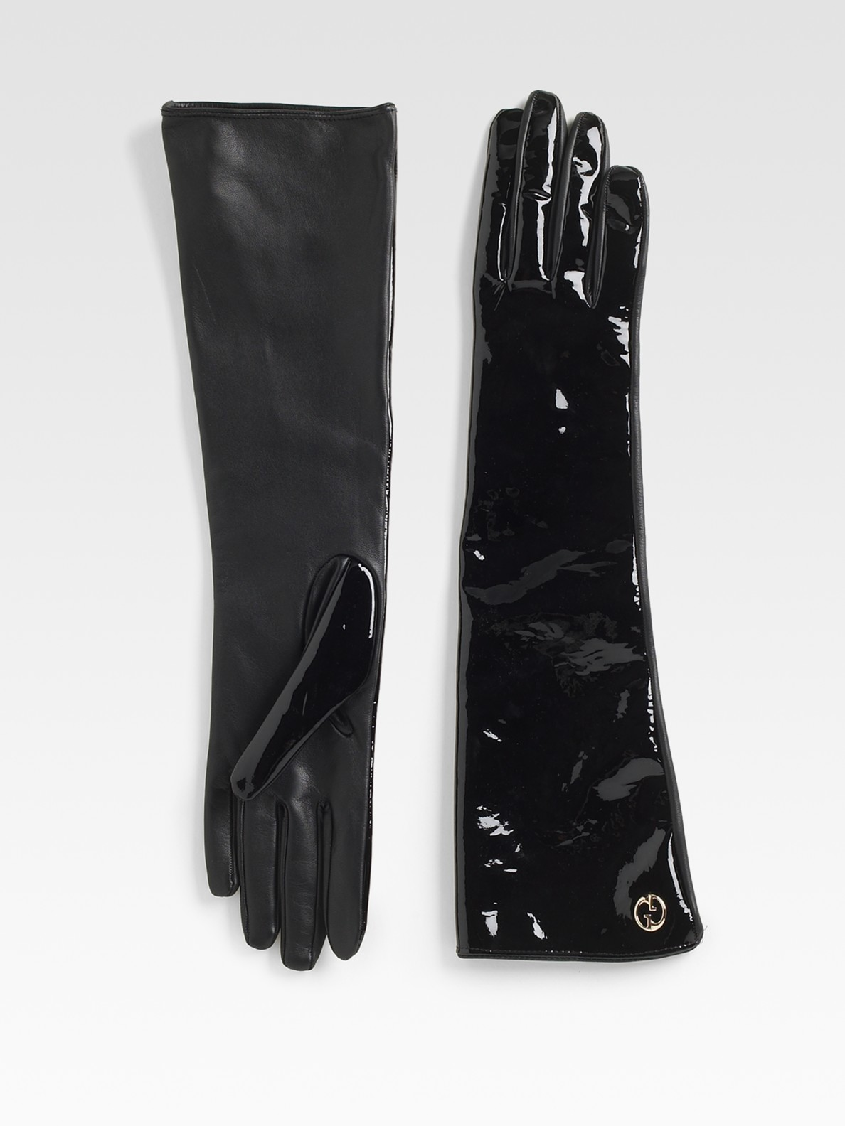 Black patent leather gloves - Gallery
