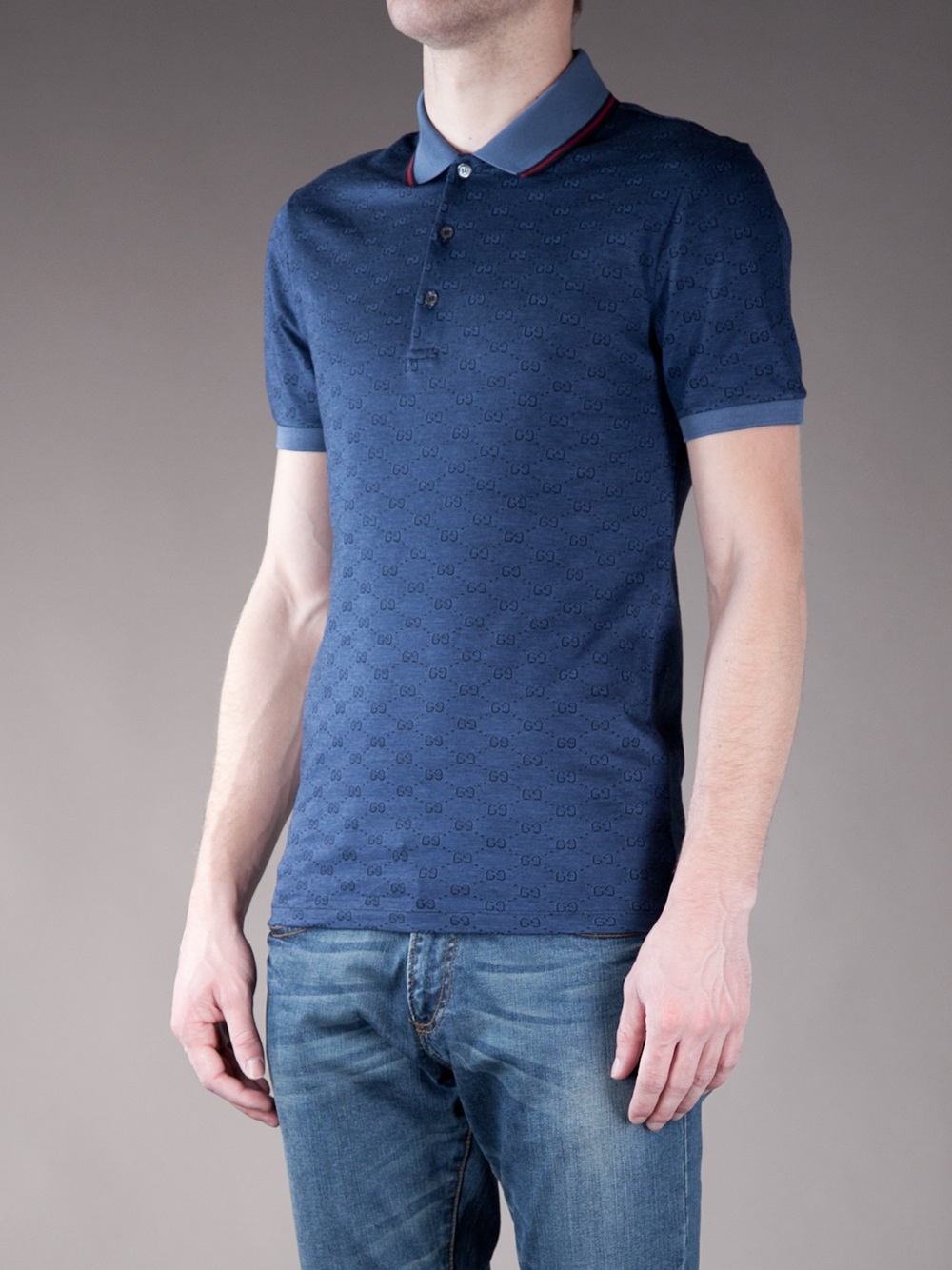 gucci monogrammed polo shirt in blue for men