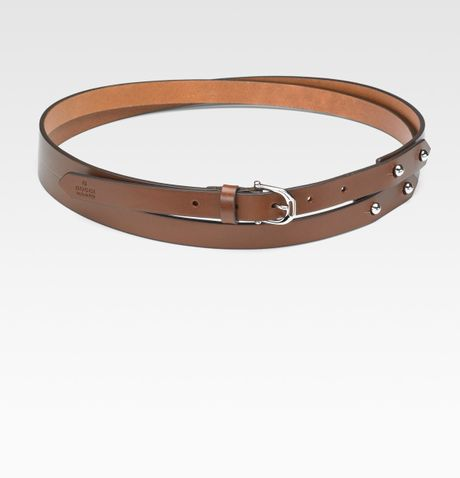 gucci leather wrap belt in brown lyst