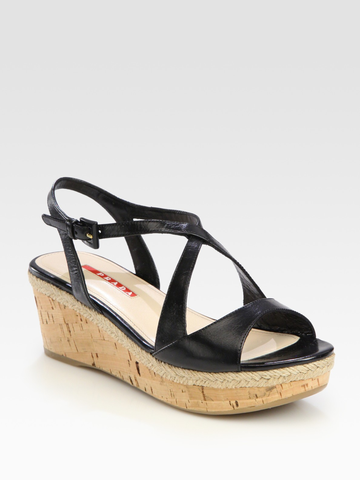 Prada Wedge Sandals In Black Lyst
