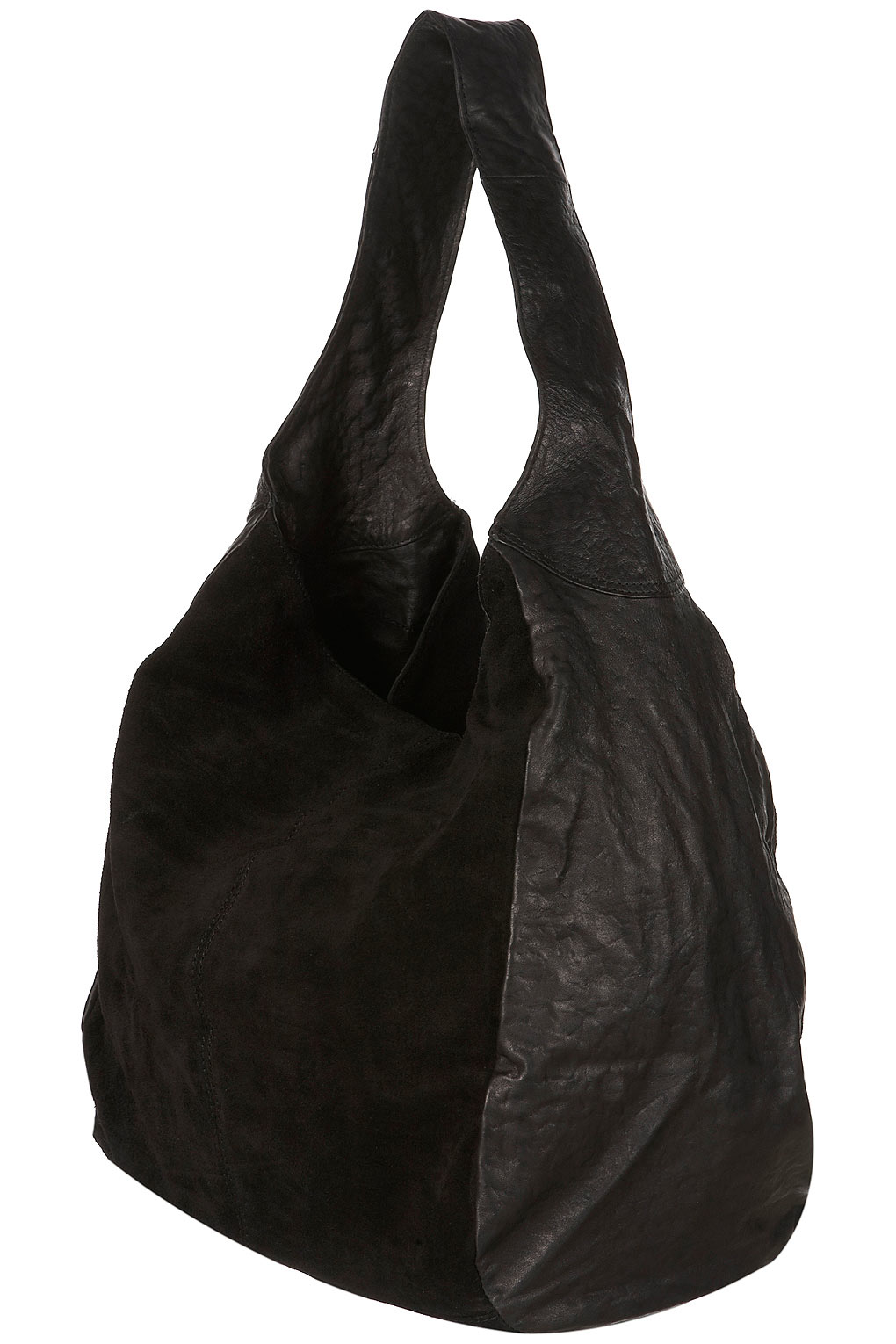 Topshop Leather and Suede Slouch Bag in Black | Lyst
