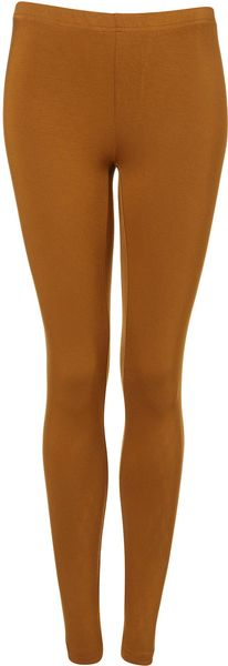 Topshop Mustard Ankle Legging in Brown (ochre)