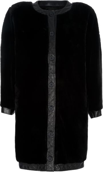 Louis Feraud Vintage Shearling Coat in Black - Lyst