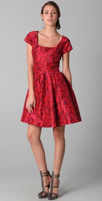 Lyst Zac Posen Short Sleeve Flared Leopard Dress In Red