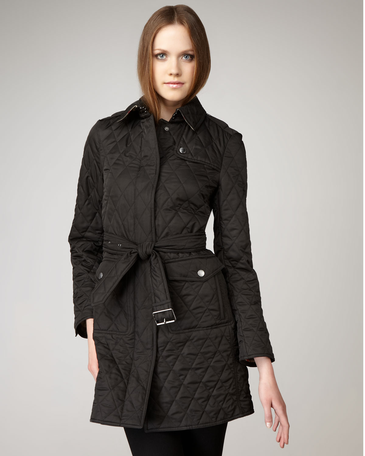 Burberry Brit Long Quilted Jacket In Black Lyst