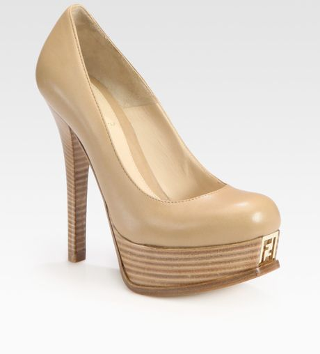 Fendi Platform Pump in Beige