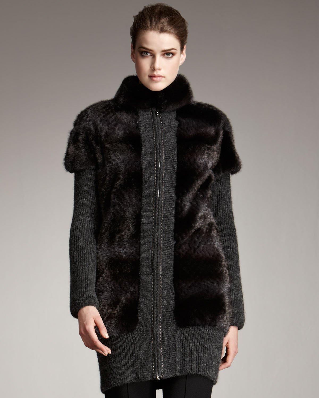 Lyst Fendi Fur Amp Knit Coat In Gray