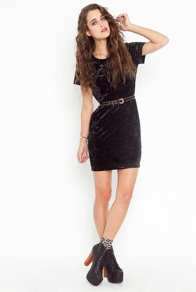Nasty Gal Tori Velvet Dress In Black Lyst