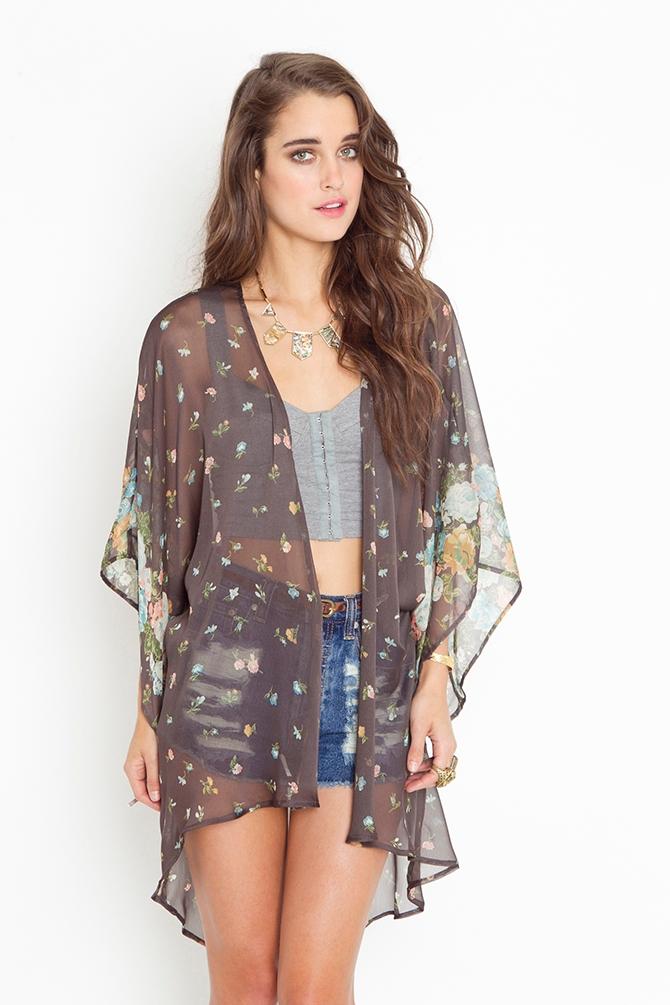 Lyst - Nasty Gal Rhiannon Kimono Jacket in Gray