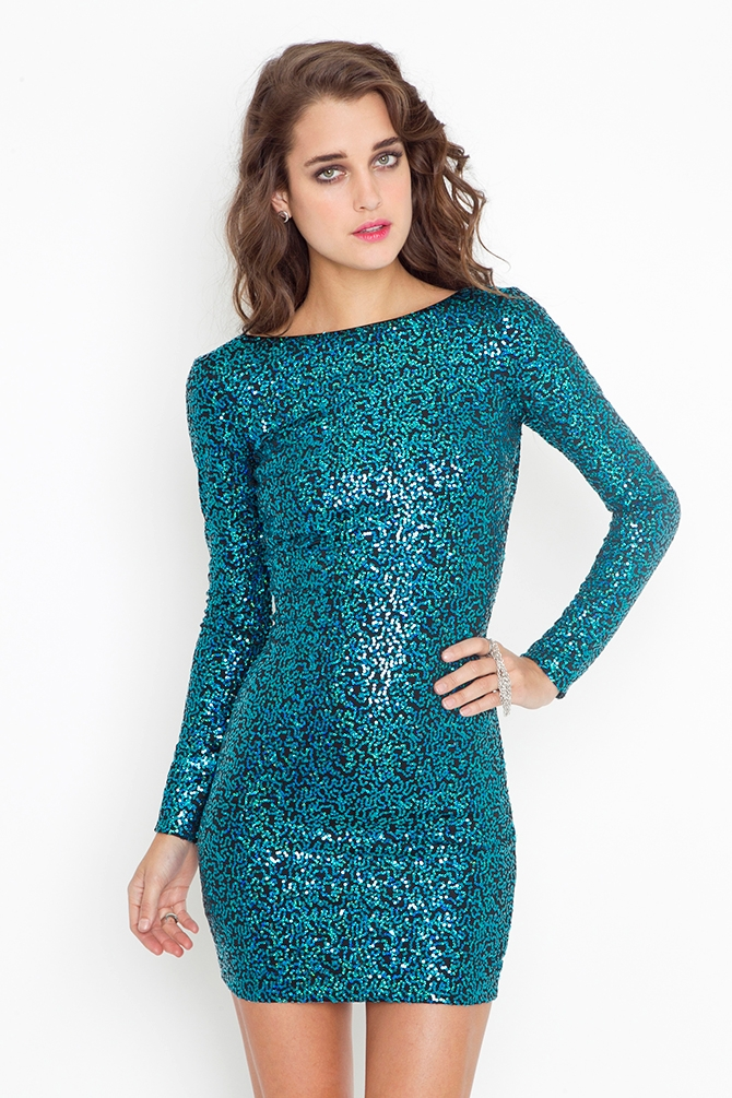 Nasty gal Nikki Sequin Dress - Turquoise in Blue | Lyst