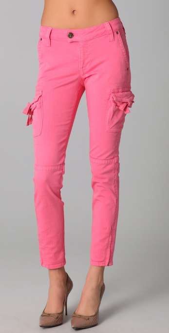 Red valentino Skinny Cargo Pants in Pink | Lyst