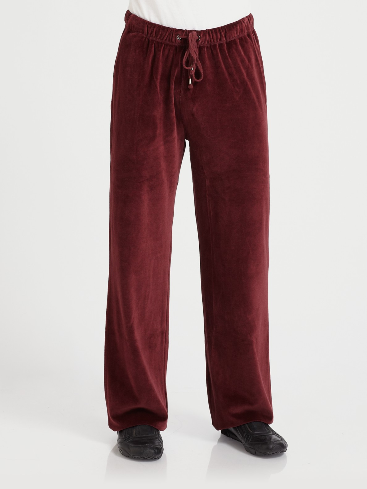 Saks Fifth Avenue Velour Lounge Pants In Purple For Men Lyst