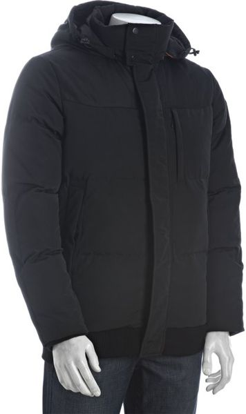 T Tech Tumi Black Quilted Down Hooded Puffer Jacket In