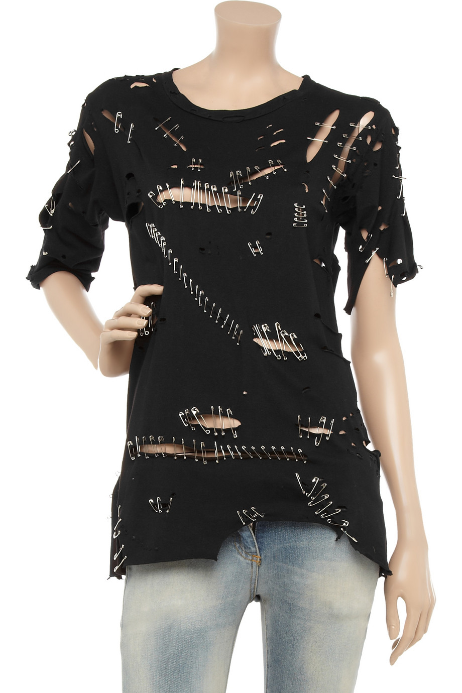 balmain safety pin cotton t shirt in black lyst. Black Bedroom Furniture Sets. Home Design Ideas