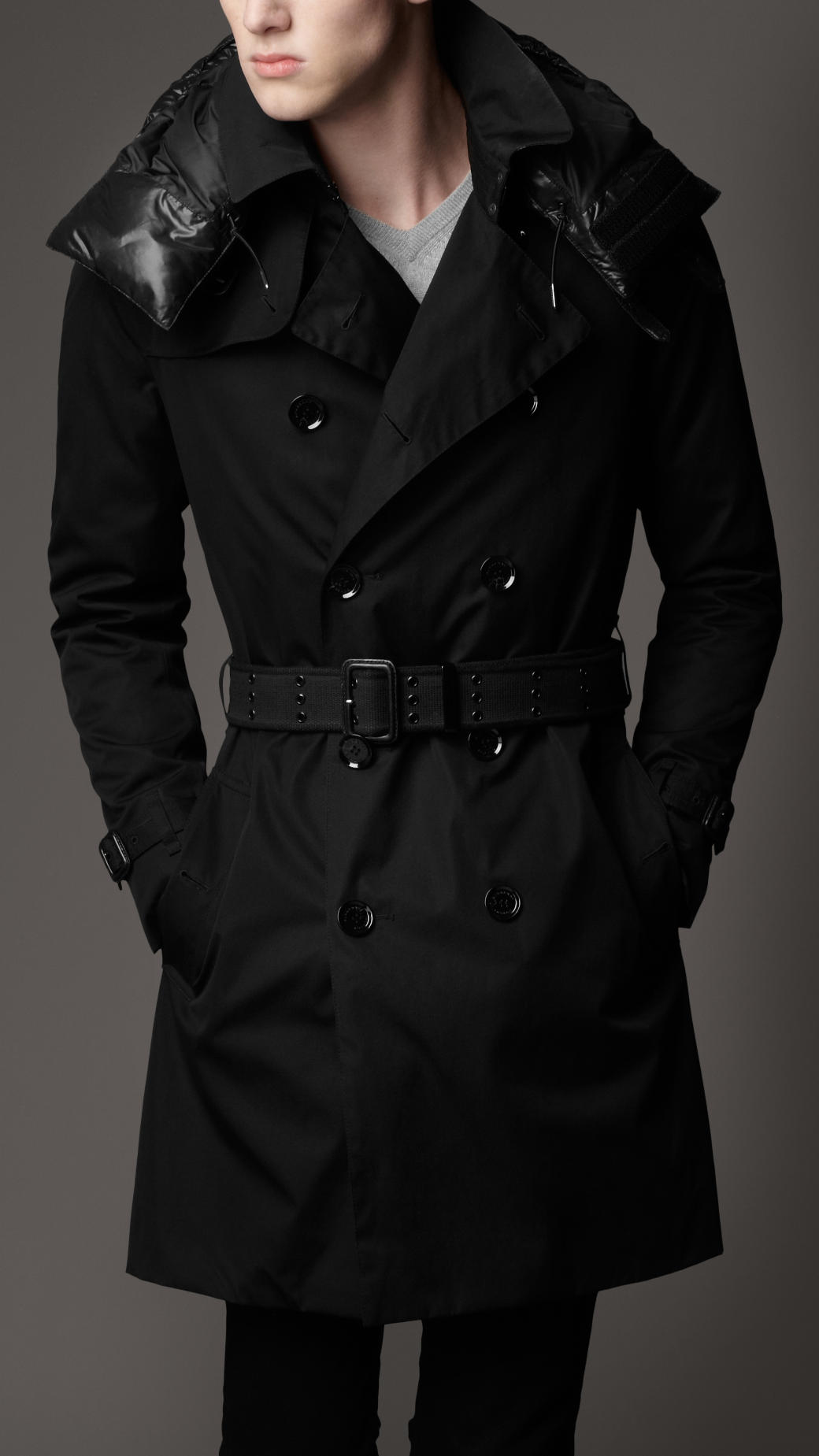 Burberry Quilted Hood Trench Coat In Black For Men Lyst