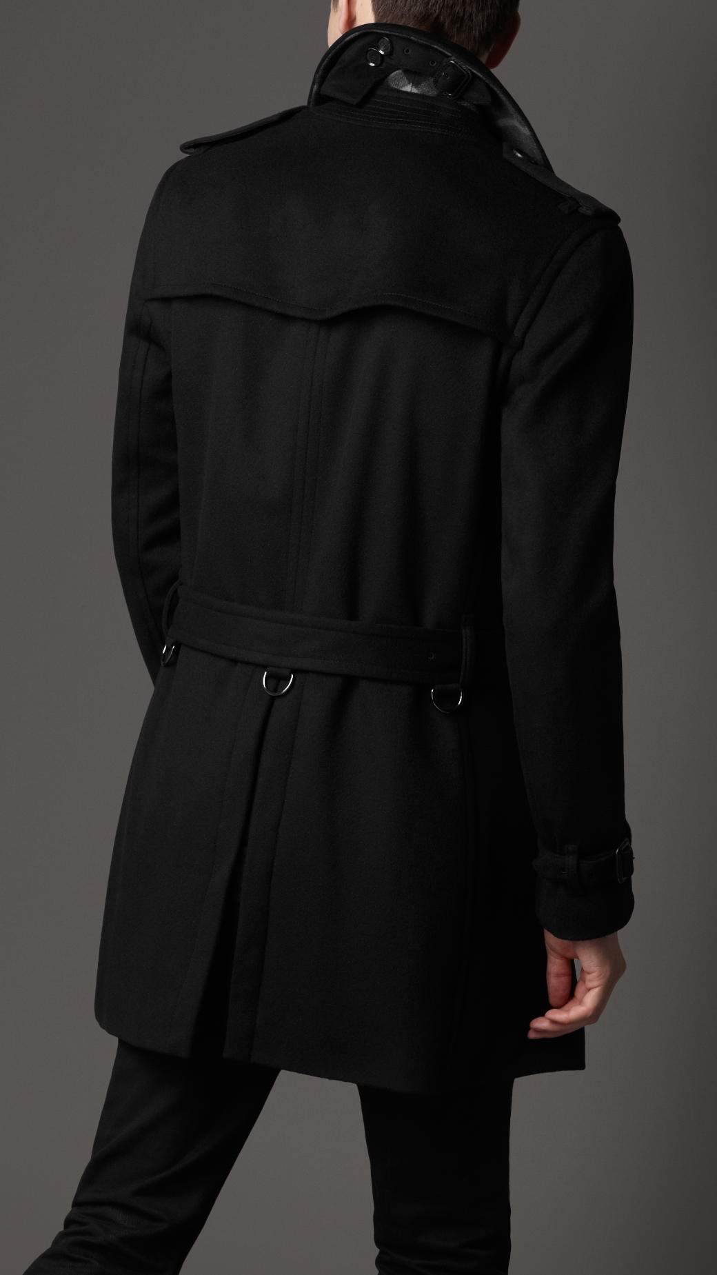 Burberry Wool Trench Coat In Black For Men Lyst