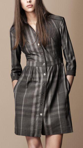 Burberry Brit Check Shirt Dress In Gray Dark Grey M Lange