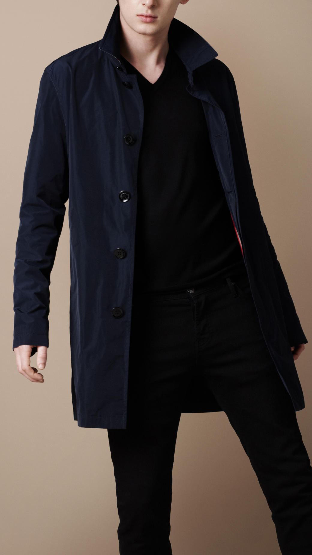 Burberry brit Short Packaway Nylon Trench Coat in Blue for Men | Lyst