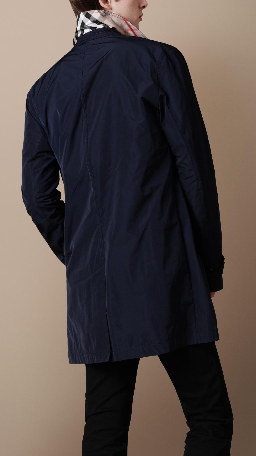 Burberry brit Short Packaway Nylon Trench Coat in Blue for Men | Lyst