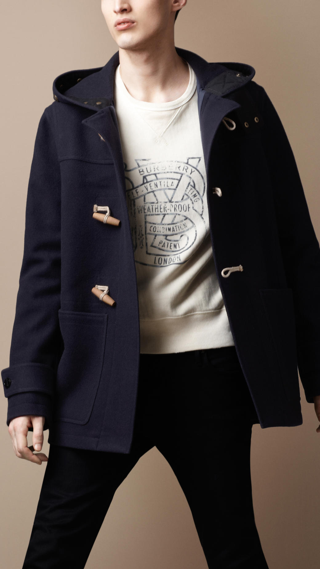 Burberry brit Hooded Wool Duffle Coat in Blue for Men | Lyst