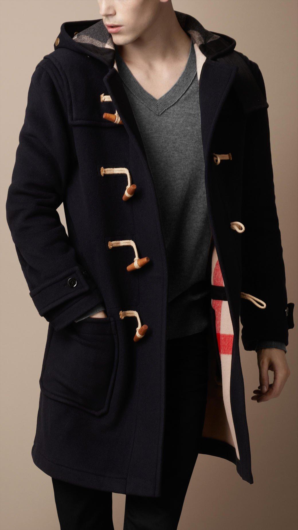 burberry brit hooded wool duffle coat in blue for men. Black Bedroom Furniture Sets. Home Design Ideas