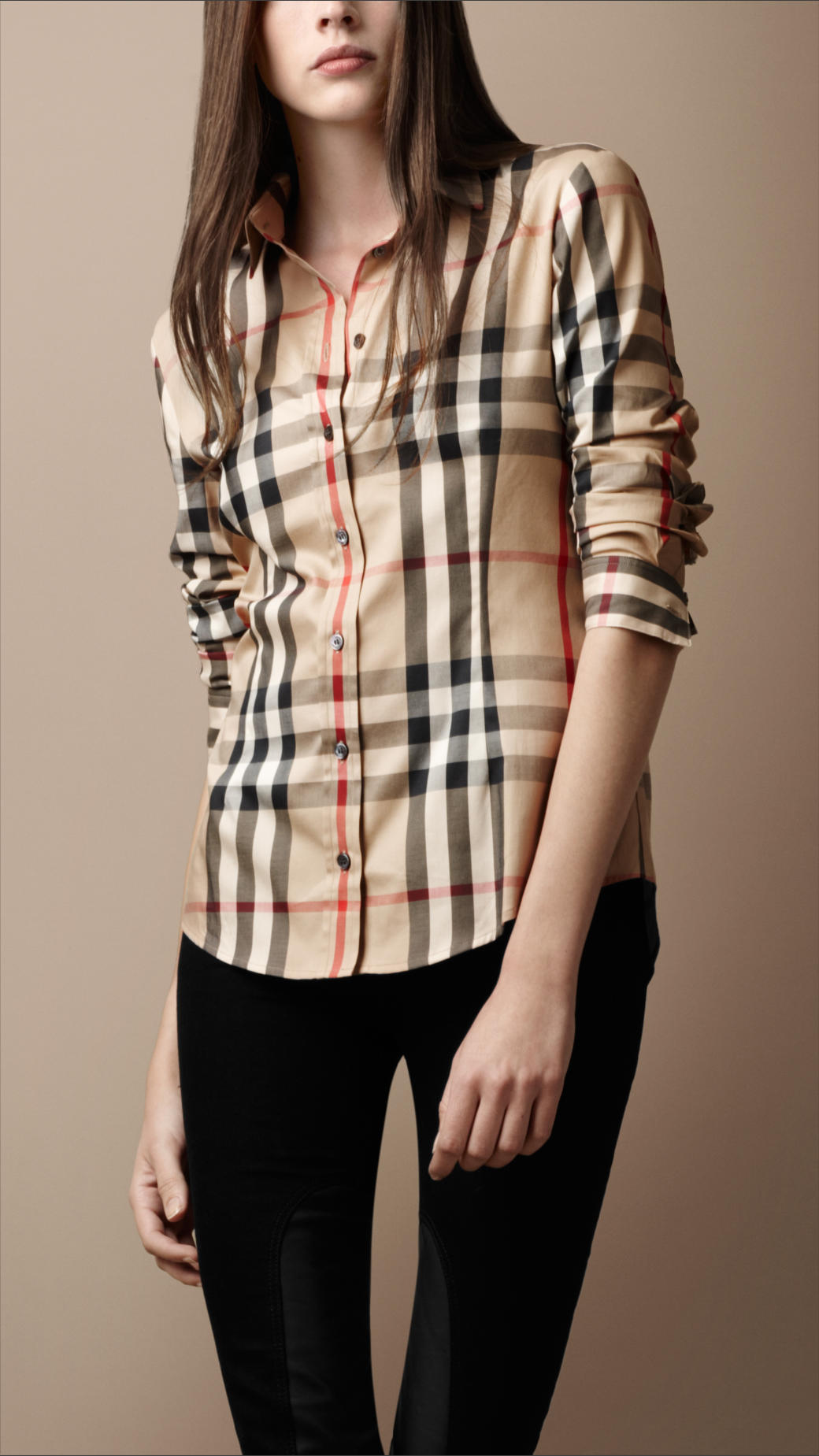 Lyst burberry brit pointed collar check shirt in natural for Burberry brit checked shirt