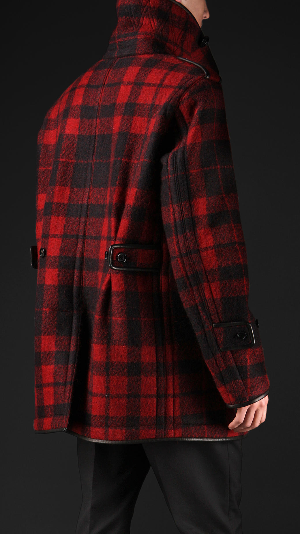 a0ea75303b1c Burberry Prorsum Check Brushed Wool Leather Bound Pea Coat in Red ...
