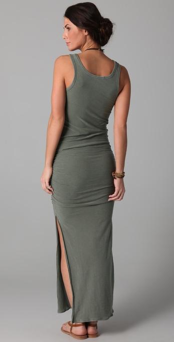 James Perse Side Split Long Tank Dress In Green Gray Lyst