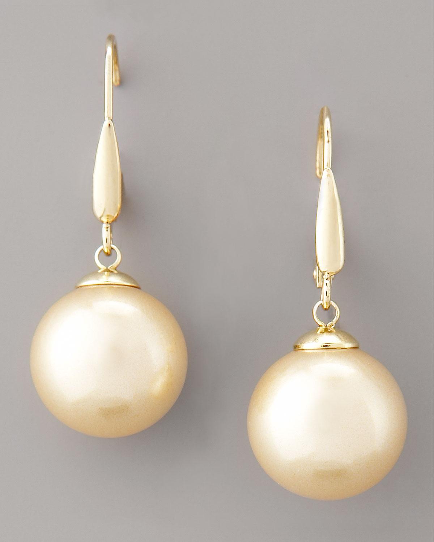 Majorica Champagne Pearl Drop Earrings In Metallic Lyst