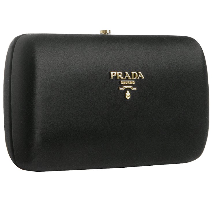 Prada Black Satin Box Clutch in Black | Lyst