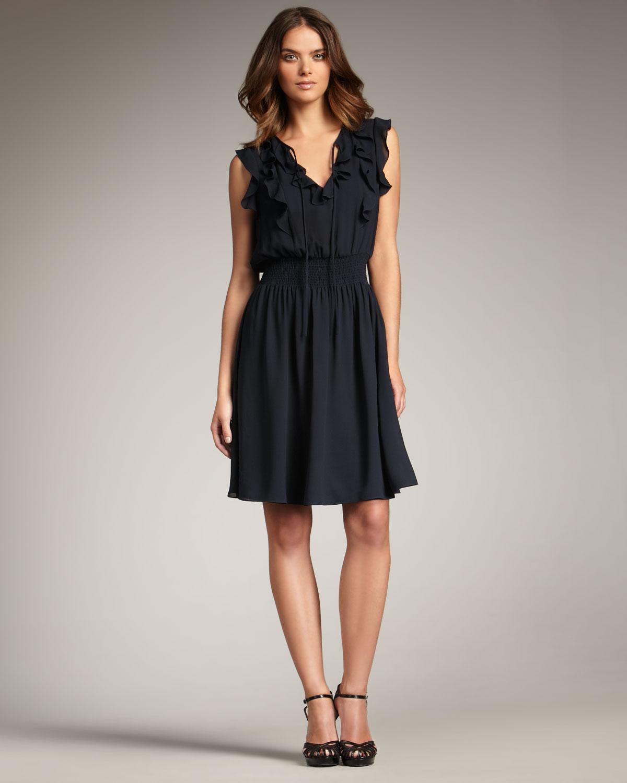 Rebecca Taylor Tailored Sretch Linen Blend Dress in Blue