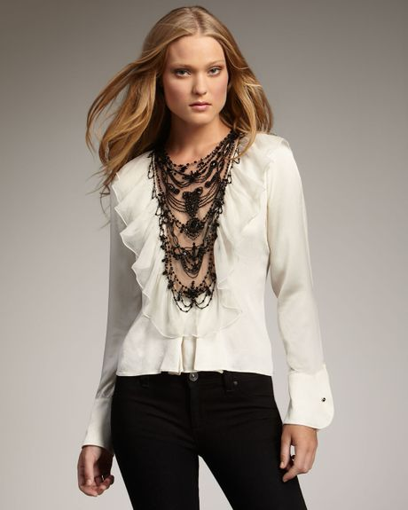 Royal Underground Bead-front Ruffle Blouse in White