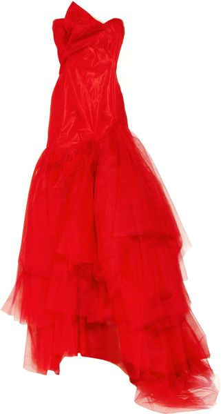Vivienne Westwood Gold Label Paper Bag Tiered Silktaffeta and Tulle Gown in Red