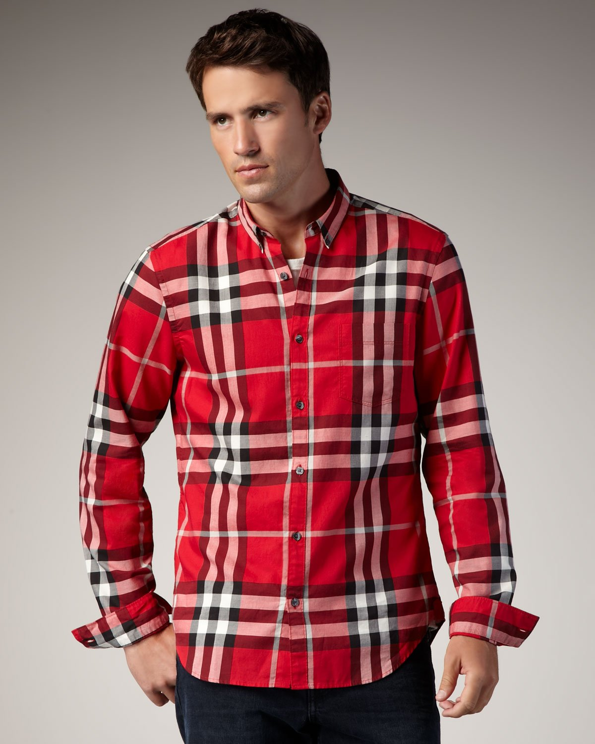 Lyst Burberry Brit Check Button Down Sport Shirt In Red