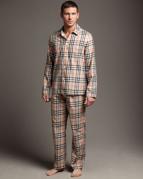Burberry Check Pajama Set in Brown for Men - Lyst
