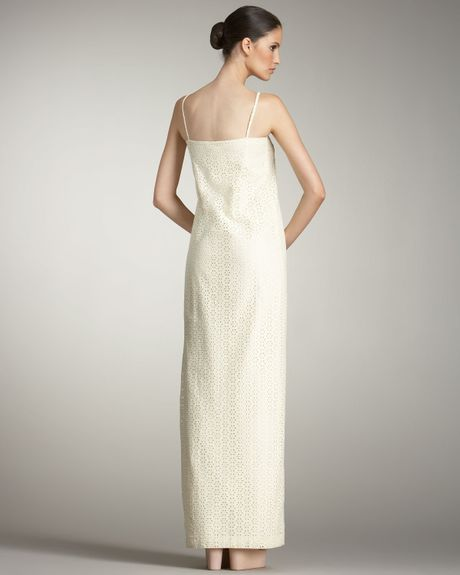 Cacharel Eyelet Shift Maxi Dress In White Off White Lyst