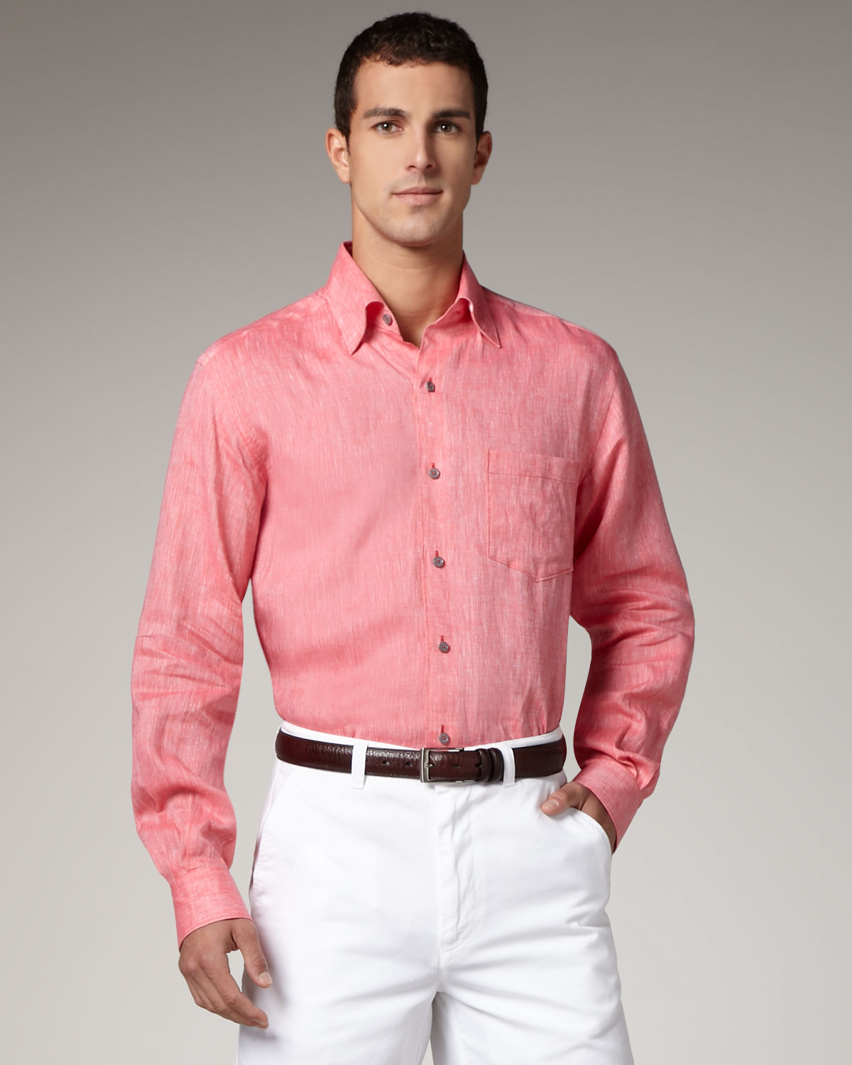 Ermenegildo zegna linen sport shirt coral in pink for men for Coral shirts for guys
